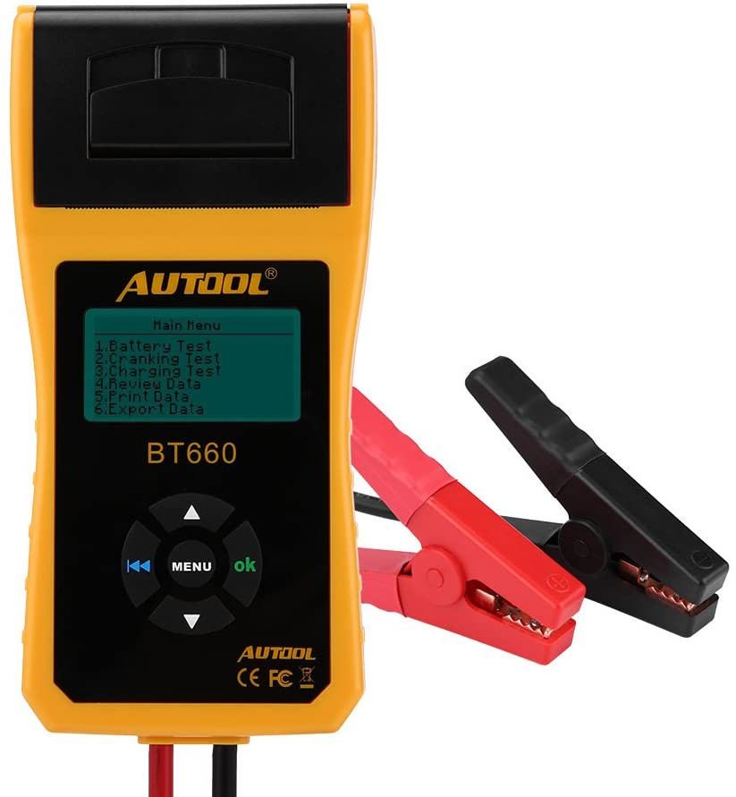 Qiilu 12V Car Battery Load Tester,automotive Cranking and Charging System Analyzer with Printer Multi-language for Heavy Duty Trucks Cars ATV