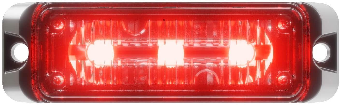 Abrams Flex Series (Red) 9W - 3 LED Volunteer Firefighter POV Vehicle Truck LED Grille Light Head Surface Mount Strobe Warning Light