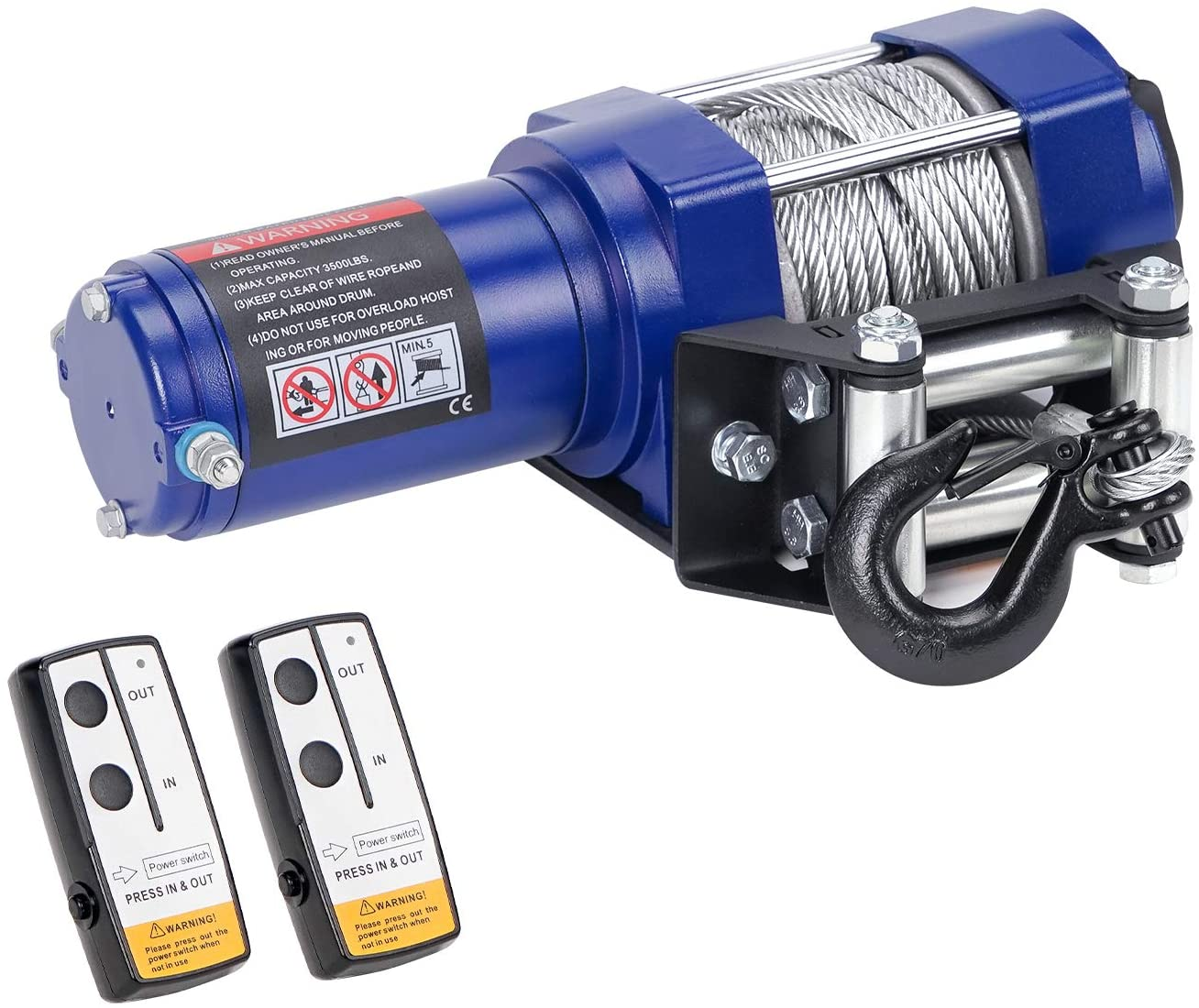 leofit Electric Winch 12V Steel Cable 3500 lbs. Capacity Wireless Remote Control