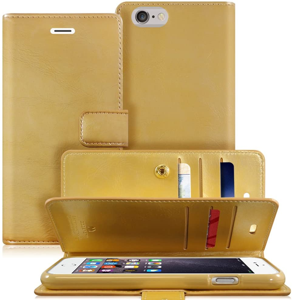 Goospery Mansoor Wallet for Apple iPhone 6S Case (2015) iPhone 6 Case (2014) Double Sided Card Holder Flip Cover (Gold) IP6-MAN-GLD