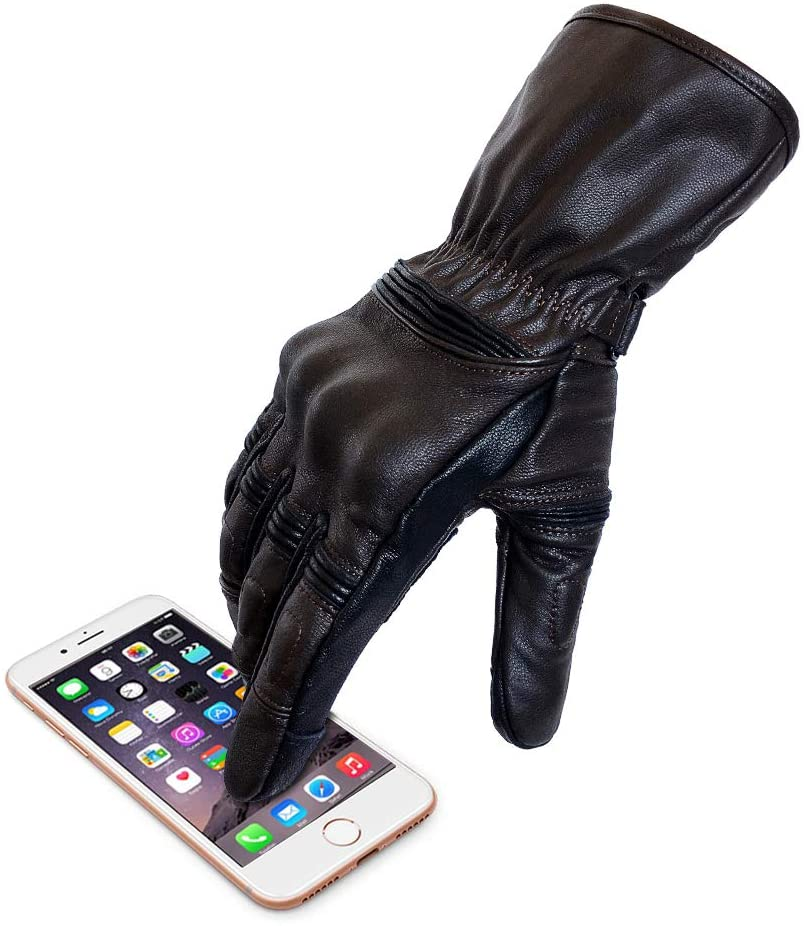 Men's Brown Leather Motorcycle Gloves Long Cuff Motocross Gloves With Two Touchscreen Fingers (M, Long)