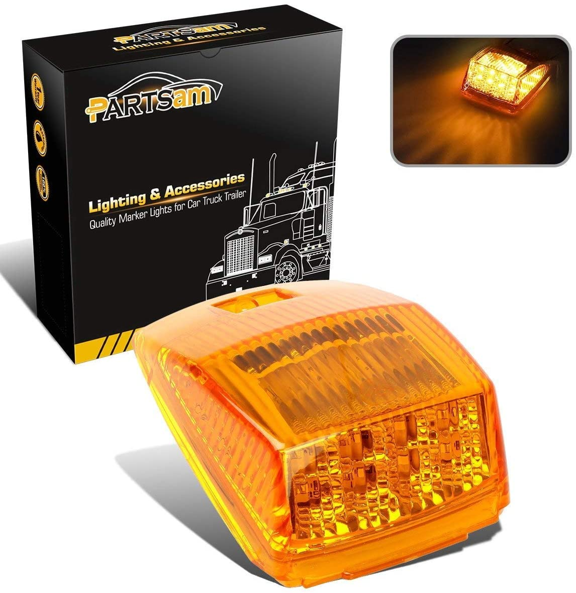 Partsam 1x Truck Trailer Amber 17 LED Cab Marker Roof Running Top Light Assembly Waterproof Replacement for Kenworth Peterbilt Freightliner Mack
