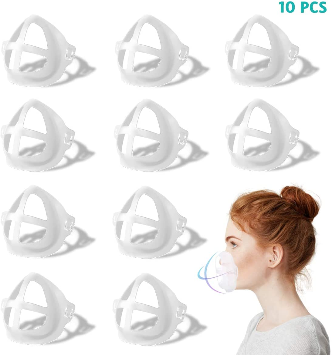 3D Face Inner Bracket, 10PCS Face Mask Inner Support Frame|Under Frame Lipstick Protector Keep Fabric off Mouth to Create More Breathing Space