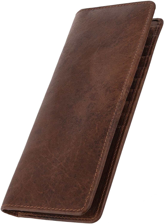 Artizanni Slim Men's Tall Full Grain Leather Long-Wallet Bifold Black Wallet SD 033 (Brown)