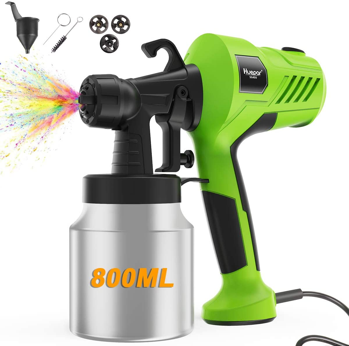 Paint Sprayer-Huepar 400W Electric Spray Gun with 800ml Detachable Metal Container, Adjustable Flow Control, 3 Nozzles(2 Copper&1 Plastic) and 3 Spray Patterns, 6.56Ft Power Cord-for Home & Outdoors