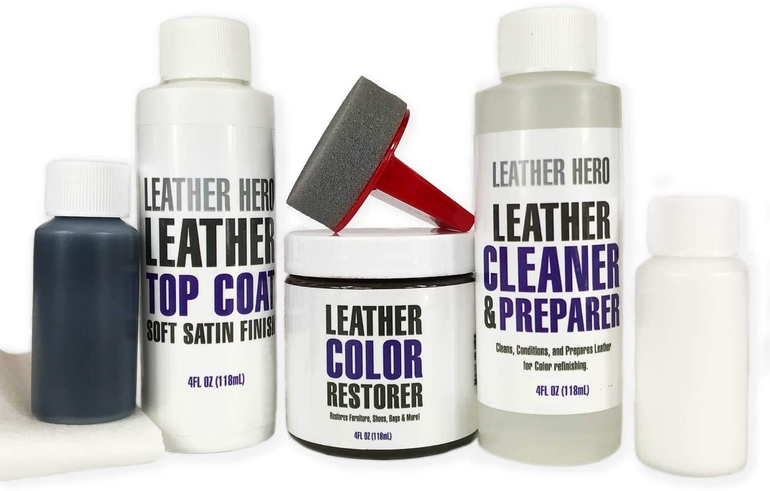 Leather Hero Leather Color Restorer Complete Repair Kit- Refinish, Recolor, Renew Leather & Vinyl Sofa, Purse, Shoes, Auto Car Seats, Couch 4oz (Mahogany)