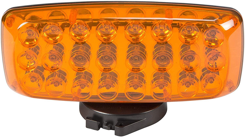 Amber LED Strobe Light w/Back & Base Magnetic Mount - 24 LEDs - 4AA Batteries - Strobe & Steady