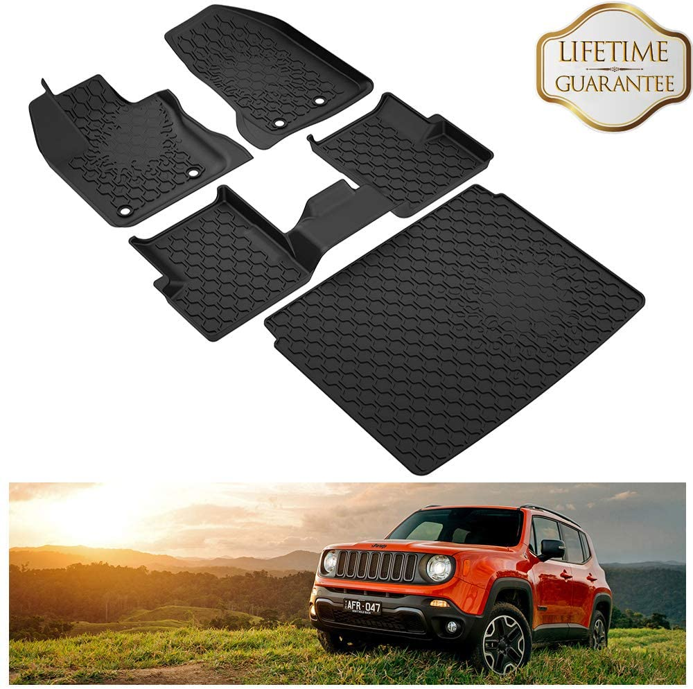 KIWI MASTER Floor Mats & Cargo Liners Set Compatible for 2015-2020 Jeep Renegade Accessories Front Rear Trunk All Weather Slush Mat Liner Black
