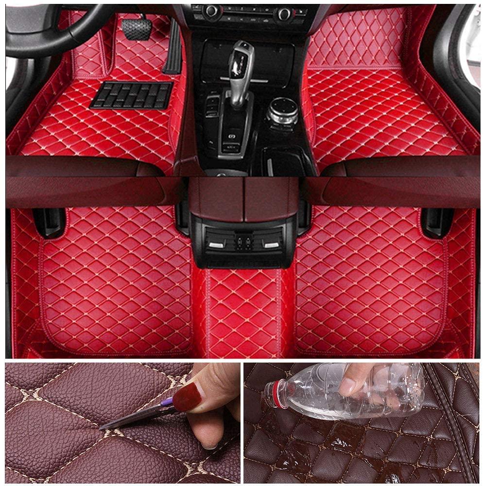 Custom Car Floor Mats for Volkswagen Tiguan 2017-2018 Leather Custom Fit All-Weather Protection Floor Liners Waterproof Foot Pad Carpets red