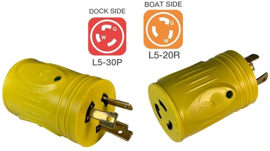 Marvine RV Plug Adapter 20Amp Lock Male L5-20P to 30Amp Female RV TT-30R with LED Indicate