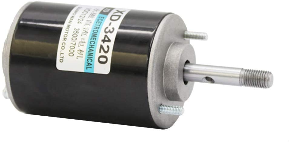 XD-3420 High Speed Permanent Magnet Motor DC 12/24V 30W CW/CCW Electric Gear Motor for Generator(12V / 3000RPM Thread Axis)