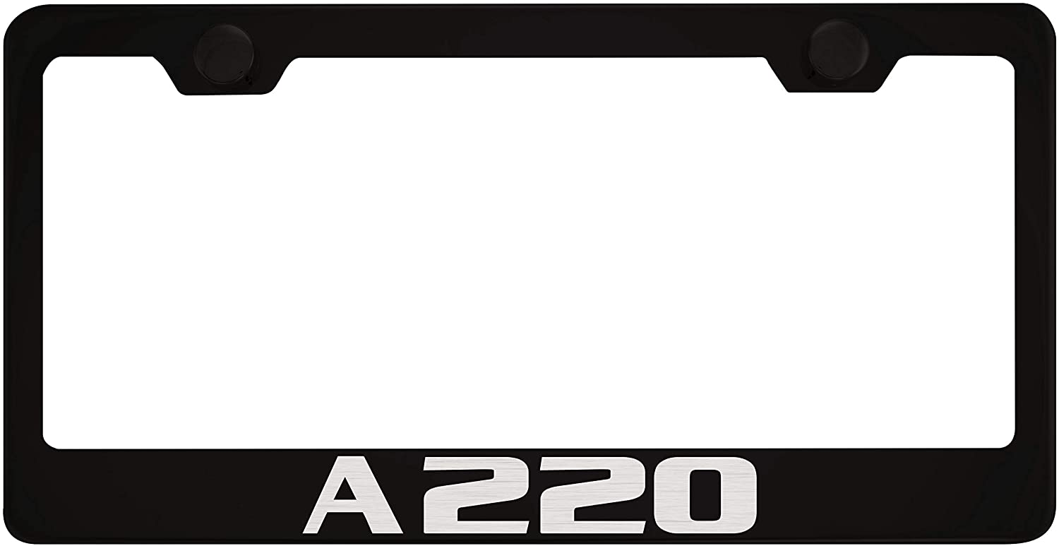Mercedes-Benz A220 Black License Plate Frame with Caps
