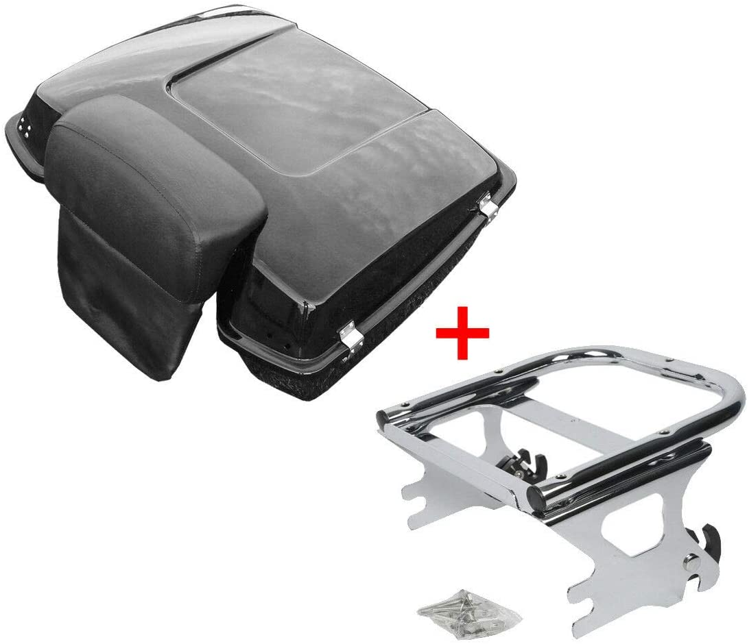TCMT Chopped Tour Pack Trunk Black Latch Backrest Mount Rack Fit For Harley Touring Road King FLHT FLHX FLTR 1997-2008 (Chrome Latches/Mounting Rack, Style A)