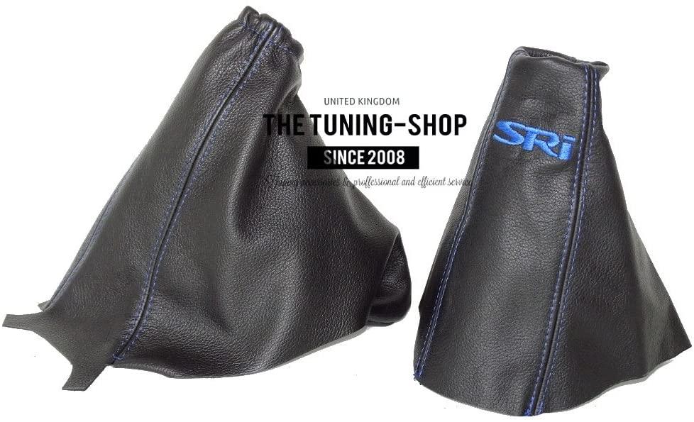 The Tuning-Shop Ltd For Vauxhall Opel Corsa D 2006-2014 Shift E Brake Boot Black Leather Blue Sri Logo Embroidery