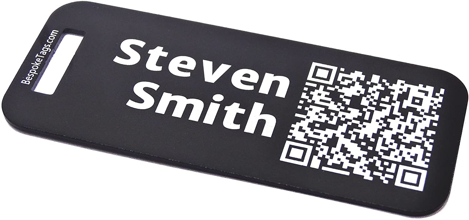 Custom Metal Luggage Tag - Customized Engraved Info & QR Code (Small, Black)