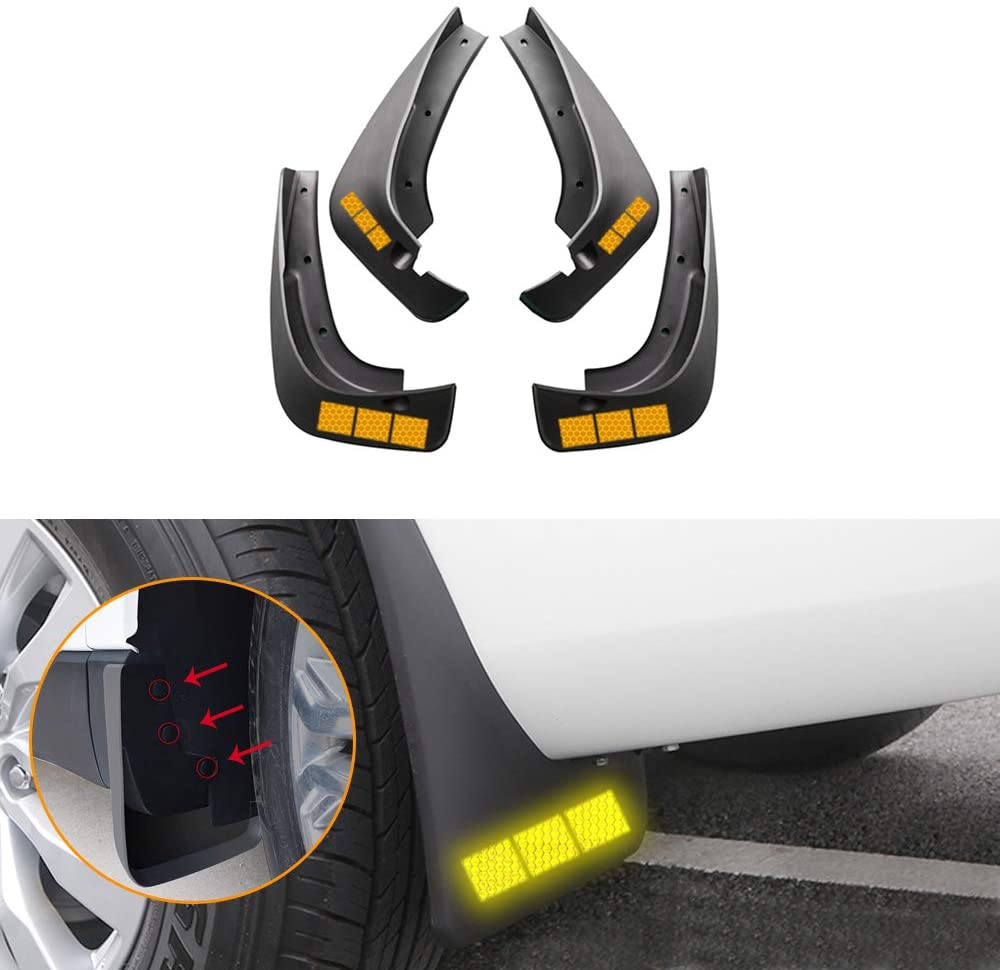 Muchkey no dril car mud Flaps for Toyota Highlander 2003 2004 2005+Self-Adhesive Safety refelctive Tape Warning Tape Marking Waterproof for Fender Flare Splash Guard 4pcs/Set(Rectangle,Yellow)