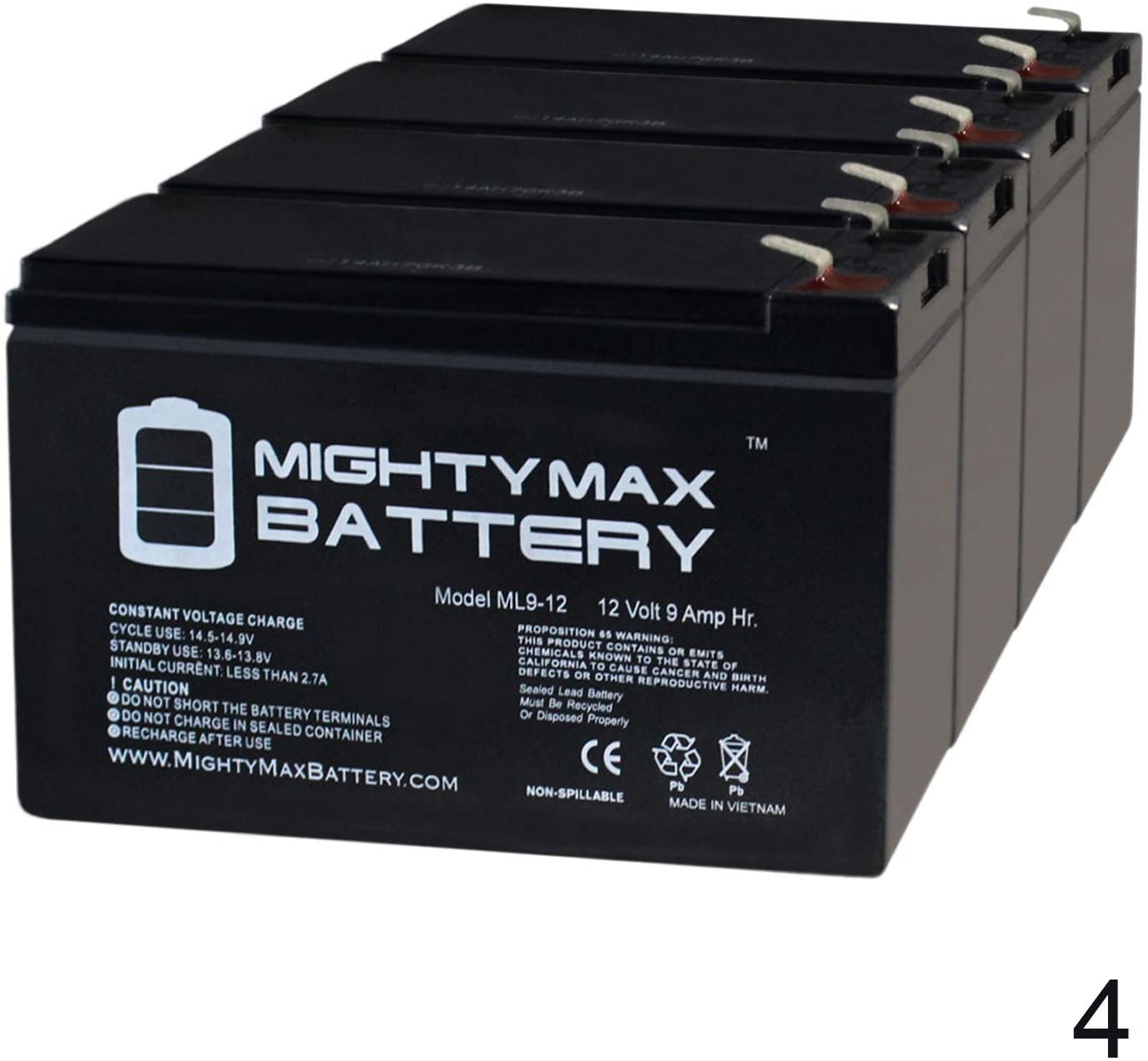 Mighty Max Battery 12V 9AH Battery for Razor EcoSmart Metro Electric Scooter - 4 Pack Brand Product