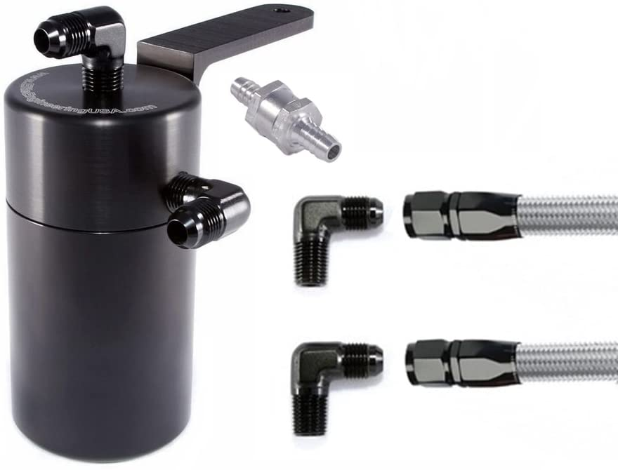 Elite Engineering Standard PCV Oil Catch Can & Hardware with Black AN Fittings, Check Valve & Clamps for 2010+ Camaro L99 (LS, LT) - BLACK