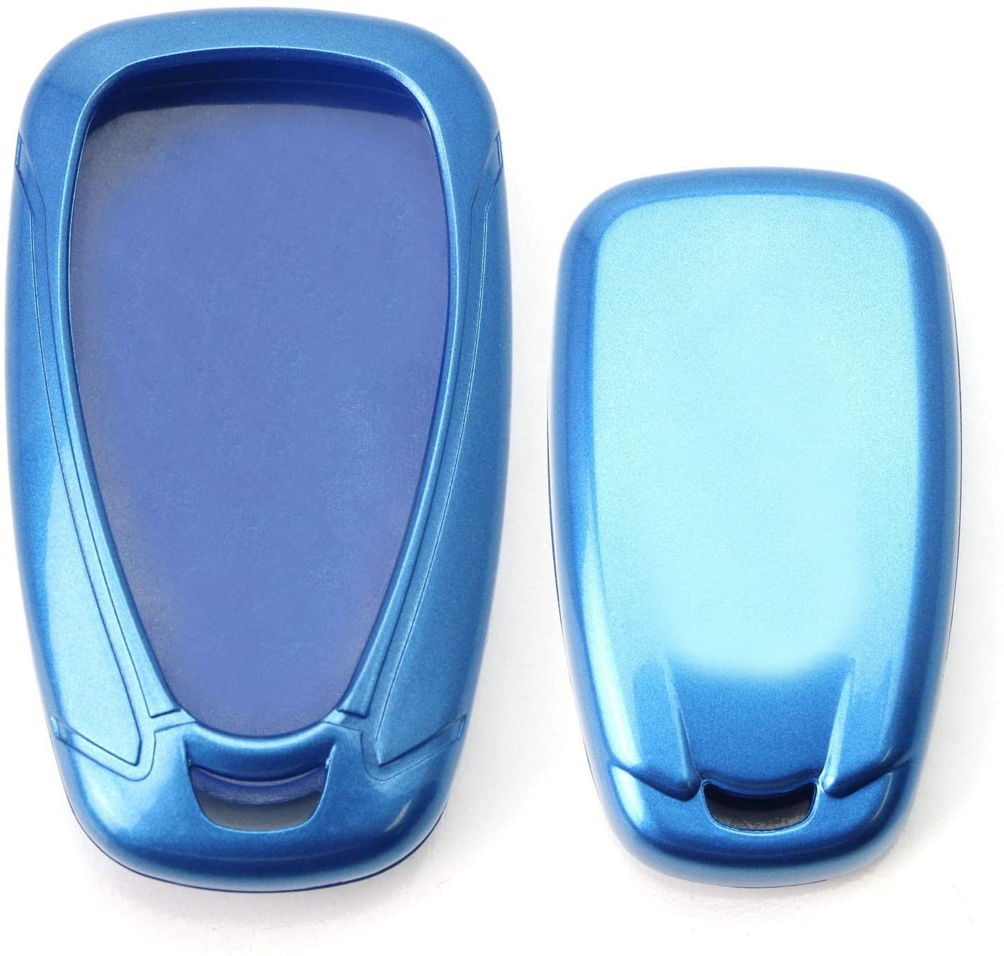 iJDMTOY Glossy Metallic Blue Exact Fit Key Fob Shell Cover Compatible With 2016-up Chevrolet Camaro Cruze Spark Volt, 2017-up Malibu Bolt Sonic Trax, etc