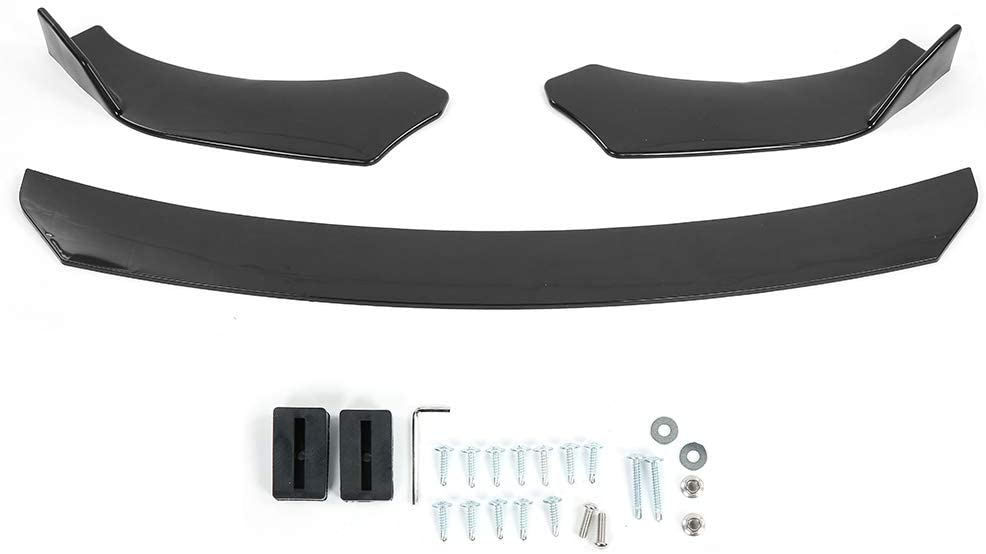 Car Front Deflector,3Pcs ABS Material Adjustable Angle 3‑Stag Universal Front Bumper Lip Splitter Spoiler Round Protector Guard Body Trim