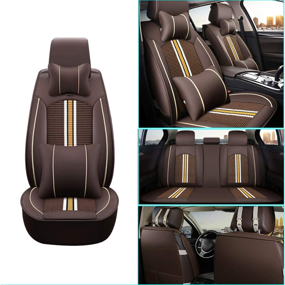 Car Seat Cover for Buick Enclave Front+Rear Seats Protector Covers Waterproof Soft PU Leather Cushion 5-Seater Car Pad Stripe Brown 9PCS