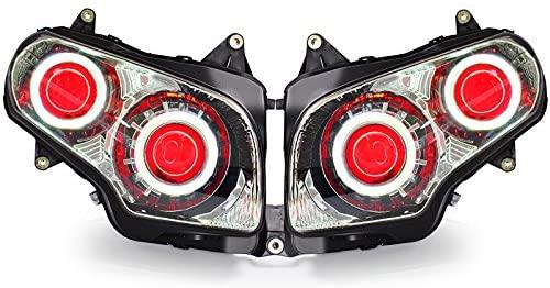 KT LED Angel Eye Headlight Assembly for Honda Goldwing GL1800 2001-2017 Red Demon Eye