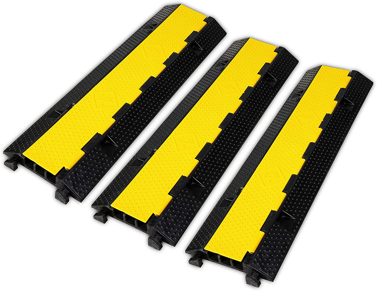 F COME 3 Pack Rubber Cable Ramp Hose Cable Protector Ramp 3 Channel 22000Lbs Load Capacity Traffic Speed Bump Wires Power Lines Extension Cord Cover for Indoor Outdoor