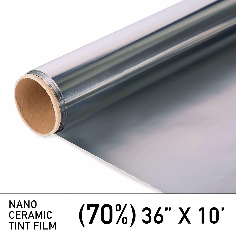 MotoShield Pro Premium 2mil Ceramic Window Tint for Auto - 36 Inches x 10 Feet (70%) [99% Infrared Heat Reduction/Blocks 99% UV] Window Film Roll