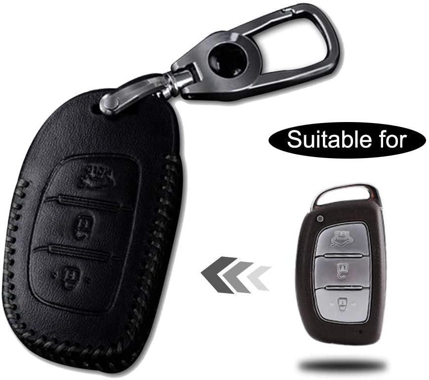 Optional Leather Car Key Fob Case Protector for Hyundai 3 Buttons Keyless Entry Remote Smart Key Handmade Accessories Black Line 1PC Type C