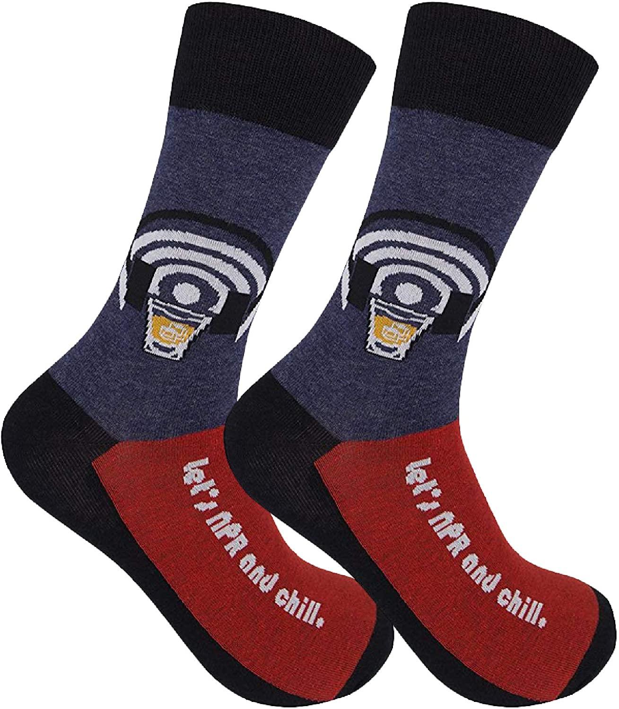 Funatic: Let's NPR & Chill Socks - Public Radio Clothing - Adult Humor - Adult Humor Clothing - Whiskey Jokes - Funny Dress Socks For Men - Funny Dress Socks For Women - Crazy Socks Men - Crazy Socks
