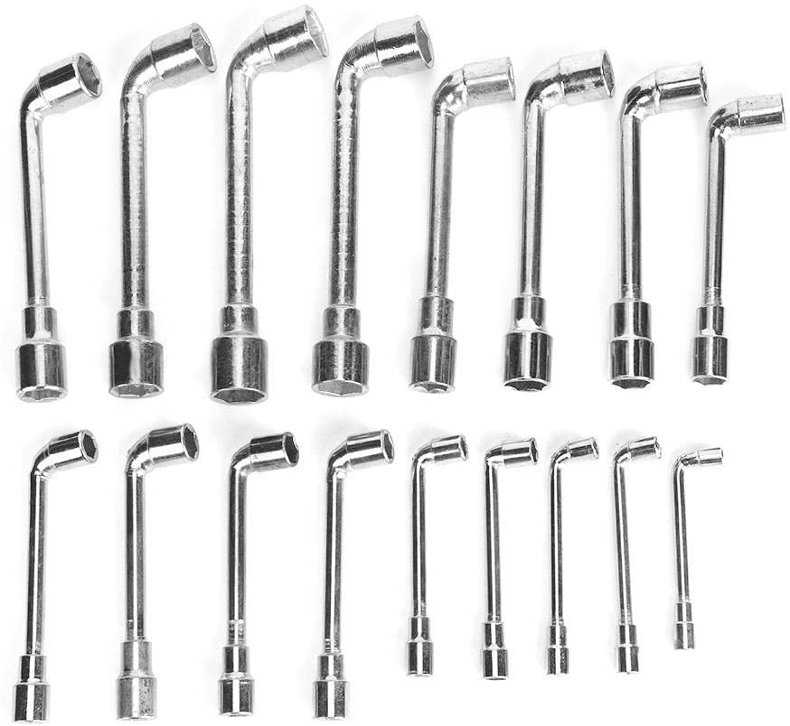 KIMISS 17pcs/Set L Type Elbow Sleeves Hex Wrench 6-22mm/0.24-0.87in