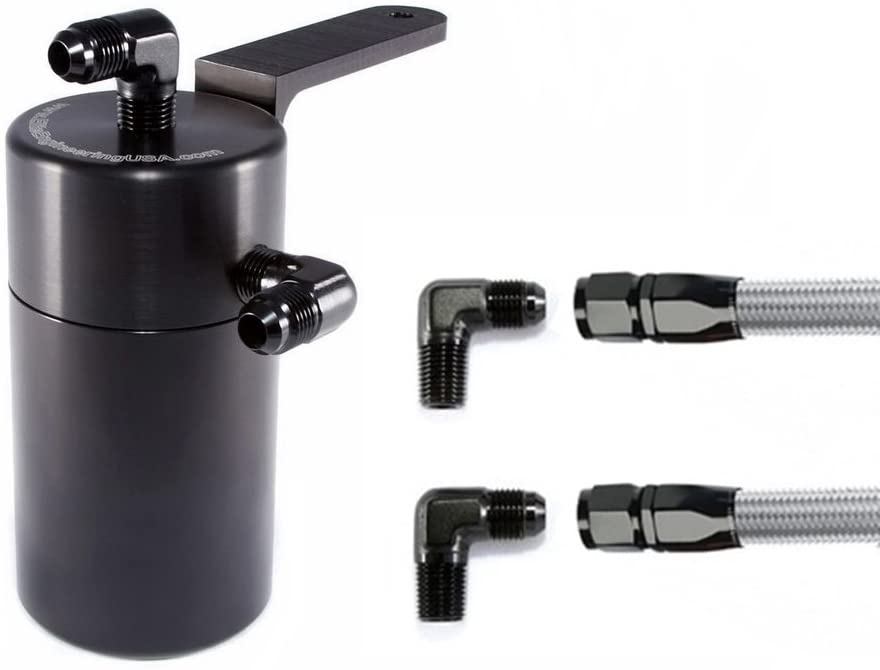 Elite Engineering Standard PCV Oil Catch Can & Hardware with Black AN Fittings for 1998-2002 Camaro & Firebird LS1 - BLACK