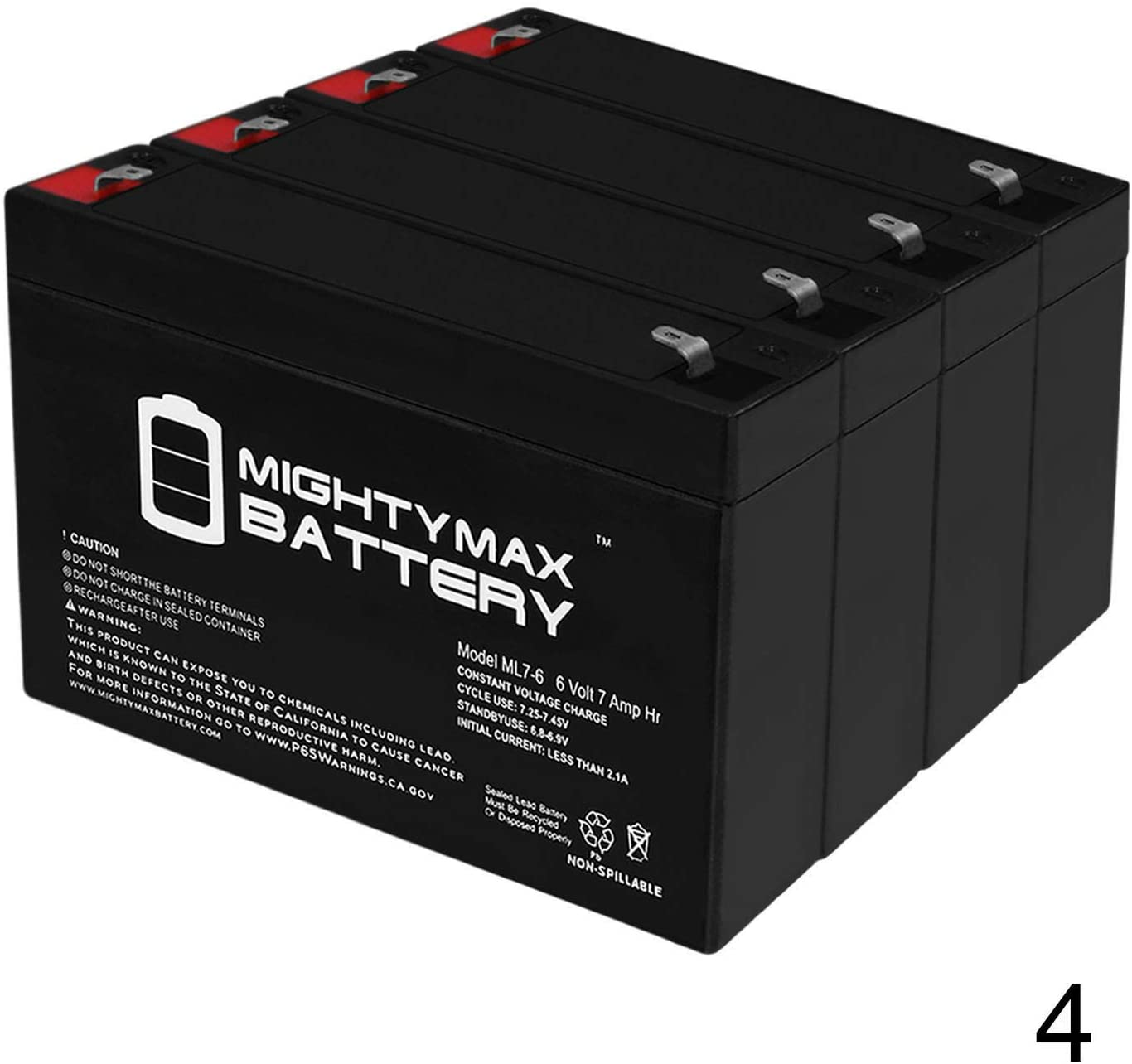 Mighty Max Battery 6V 7Ah SLA Battery Replacement for Golf Cart, Scooter - 4 Pack Brand Product