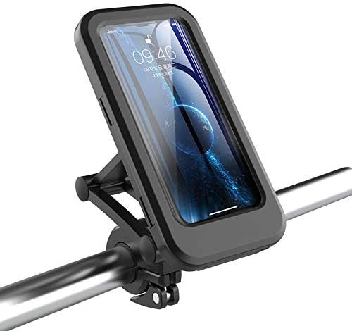 XPuing Bike Phone Holder with Cover Touch Screen Waterproof 360° Rotatable Adjustable Height Motorcycle Phone Mount Suitable for Mobile Phones Below 6.7 inches