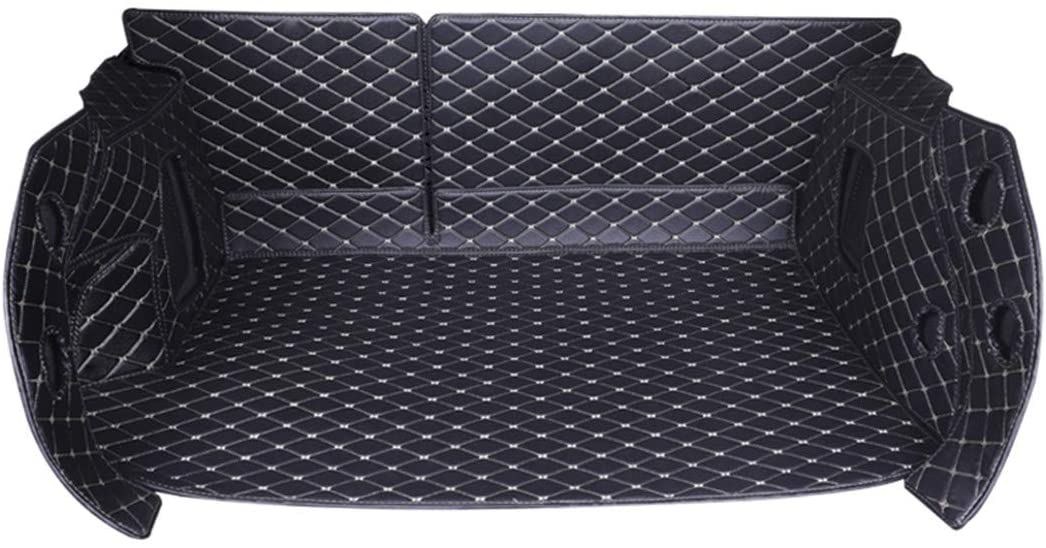 Jiahe Original Car Cargo Liner for Ford Fiesta Sedan 2009-2016 Fully Enclosed Trunk Leather Floor Mat All Weather Trunk Protection,Trimmable,Durable,Foldable,Blackbeige