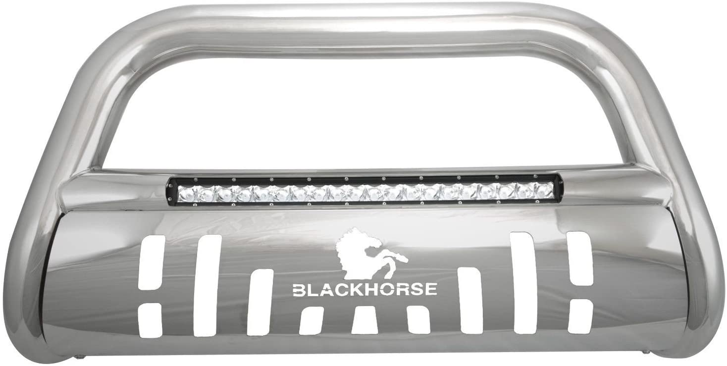 Black Horse Off Road BE-GMEQS Stainless Skid Plate 1 piece Beacon Series Bumper Push Bar Beacon Bull Bar
