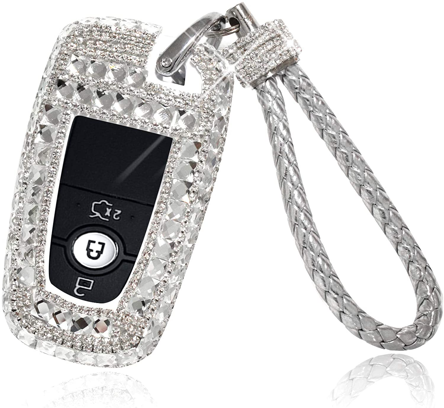GeeGee Car Key Case Key Shell Fob Key Cover Key Chain Lady Key Ring with Bling Diamond Crystals For Ford Mondeo Edge Mustang Keyless Entry Remote Control Smart Key