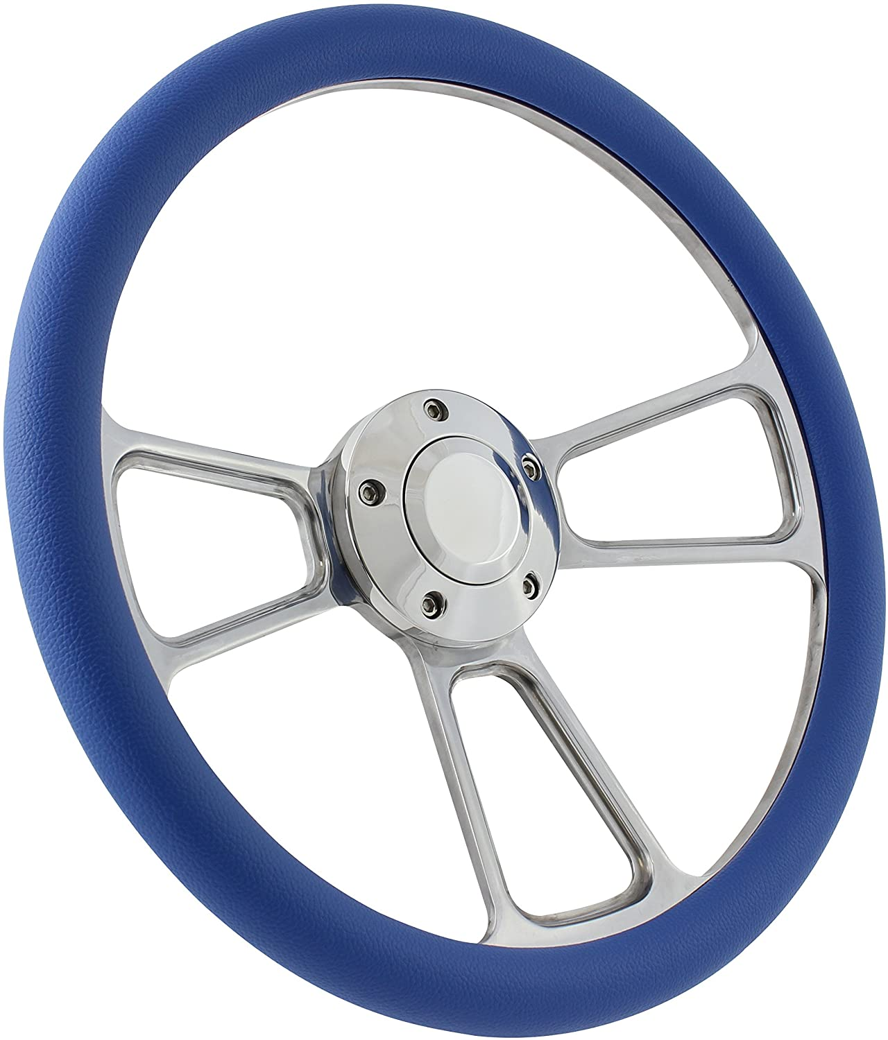 Boat Steering Wheel 14 Inch Aluminum With Sky Blue Vinyl Half Wrap, Horn Button, and Installation Adapter