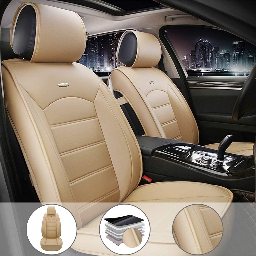 All Weather Custom Fit Seat Covers for Chrysler 200 Limited 2011-2017 5-Seat Full Protection Waterproof Car Seat Covers Ultra Comfort Beige Full Set