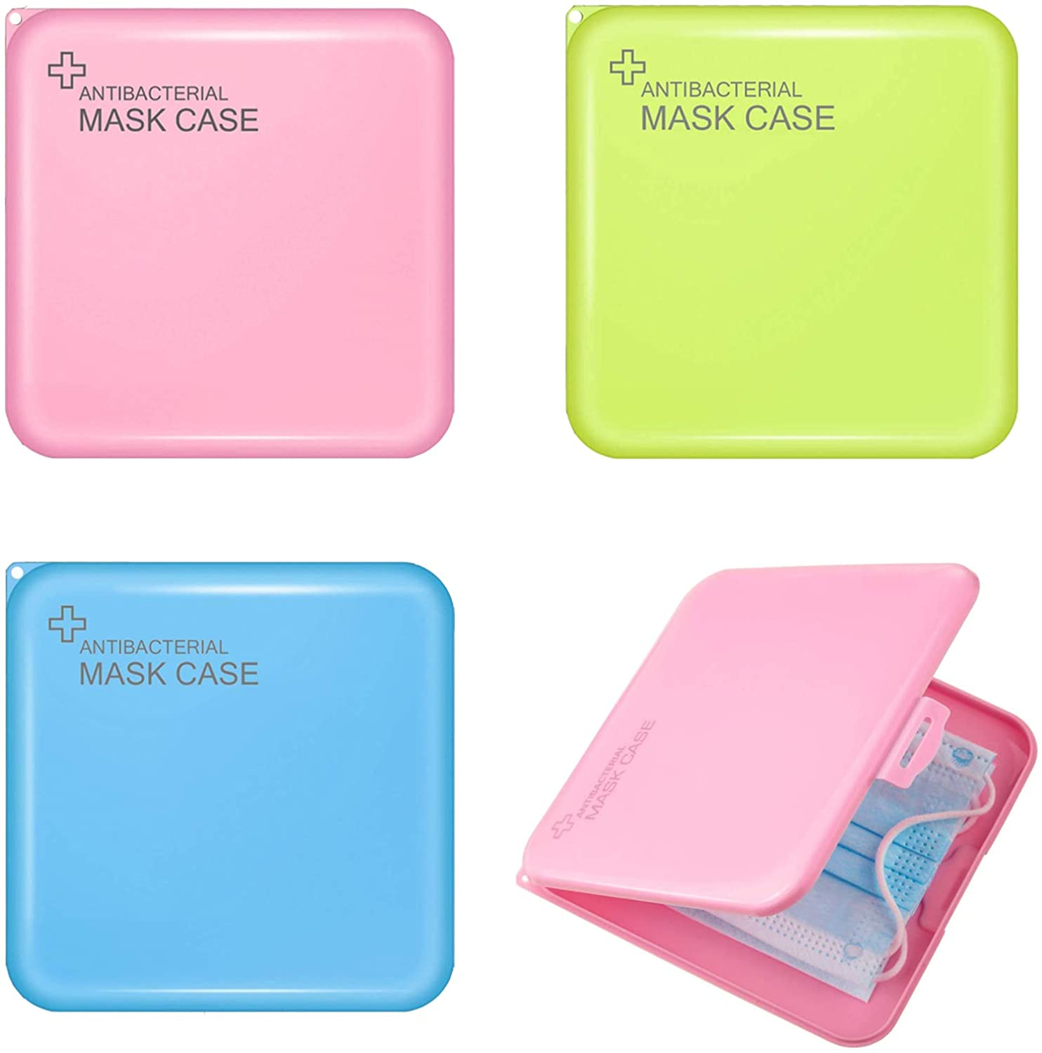 3 PCS Mask Case Holder Portable and Reusable for Mask Storage, Lightweight Face Mask Case Protect Your Face Mask When Not In Use, Mask Case For Kids And Adults To Keep Dirt At Bay (Blue, Green, Pink)