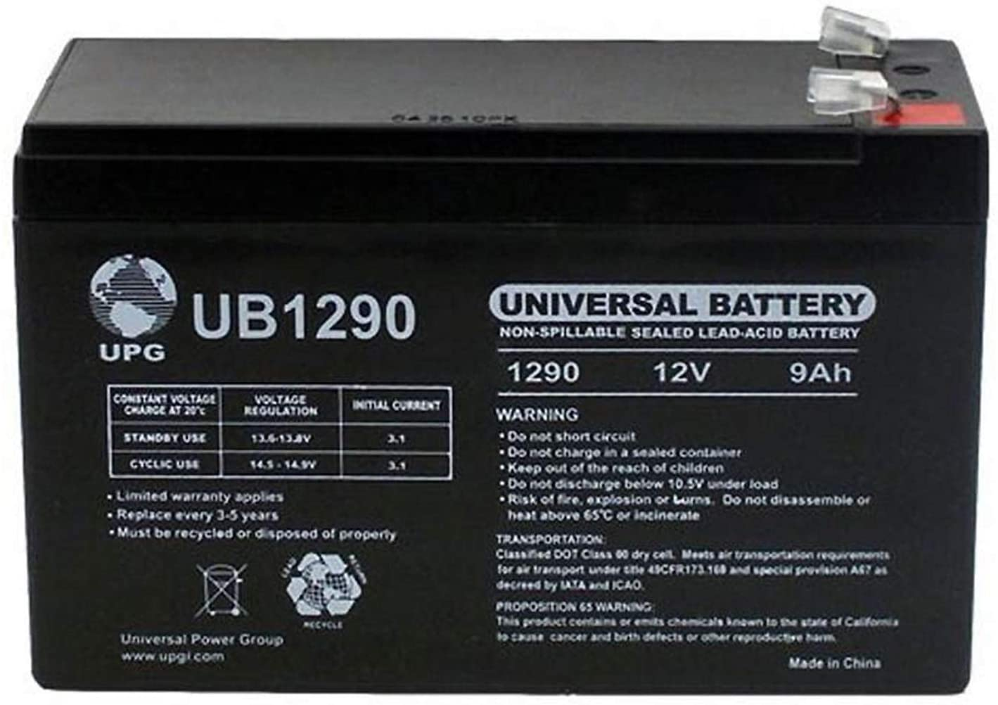 Universal Power Group 12V 9AH Replacement Battery for Marcum 5.6 Fish Locator + 12V 1Amp Charger