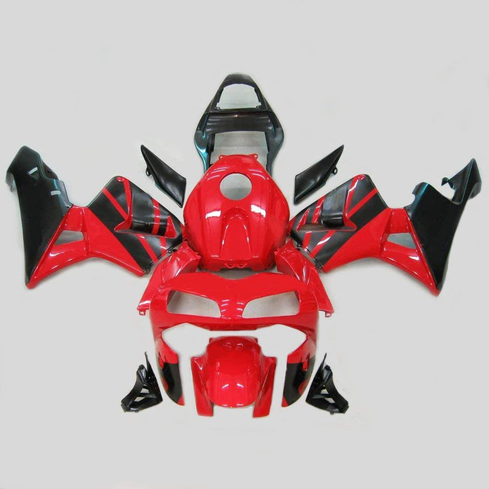 ZXMOTO Painted Fairing Kits for HONDA CBR 600RR (2003-2004) Aftermarket Motorcycle Fairings (Color:Red & Black)