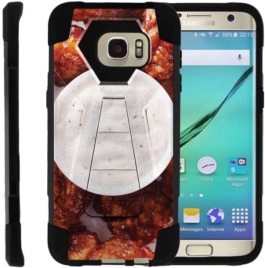 TurtleArmor   Compatible for Samsung Galaxy S7 Edge Case   G935 [Dynamic Shell] Fitted Impact Resistant Dual Hybrid Kickstand Cover Hard Protector Food Image - Buffalo Chicken Wings