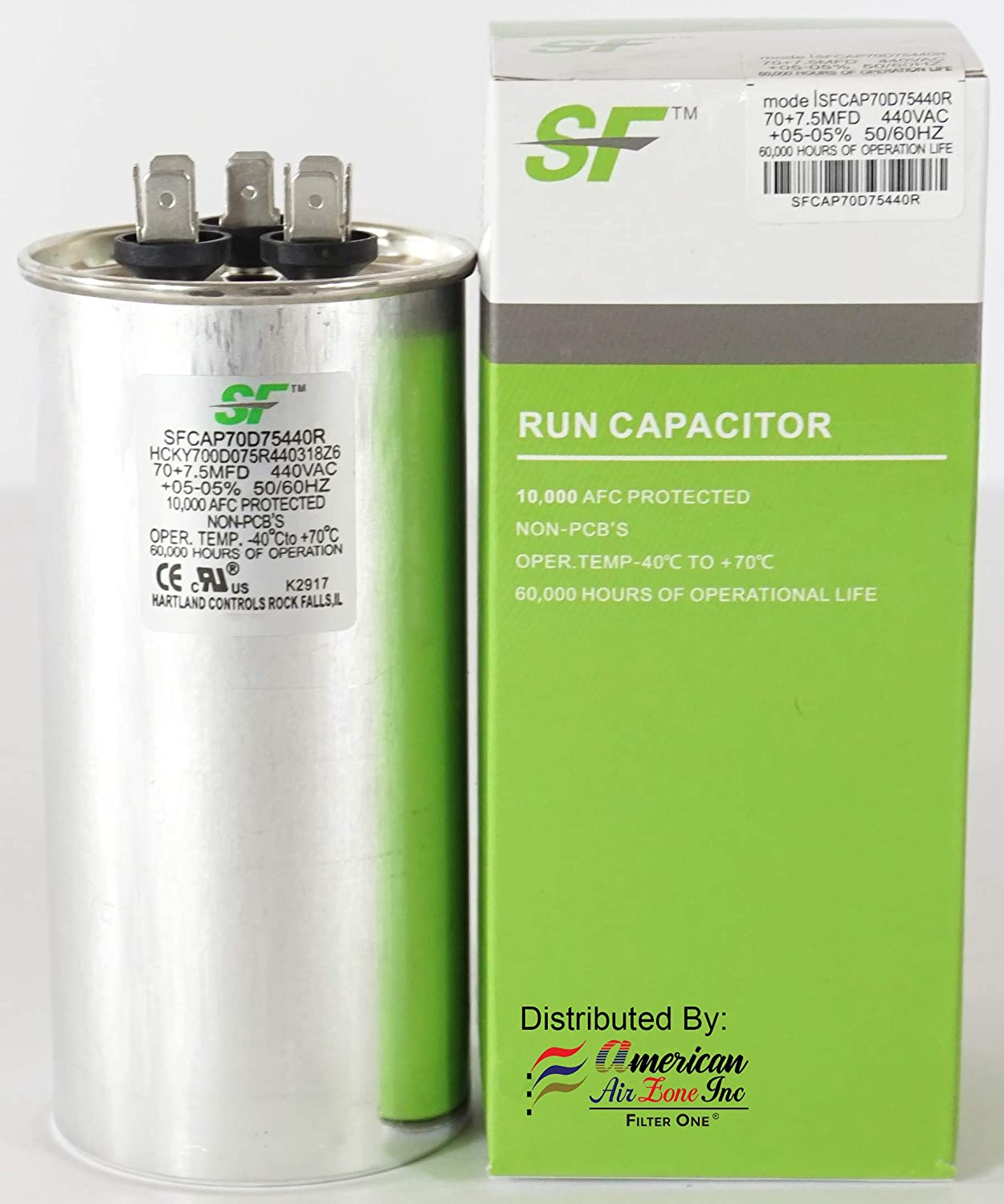 TRANE SF Dual Run Capacitor - 70+7.5 MFD μF (MicroFarad) - 370/440 Volts - Dual Run Capacitor-Round - (1-Pack) - For AC Motors, Fans or AC Compressors (Replaces other Brands Capacitors)