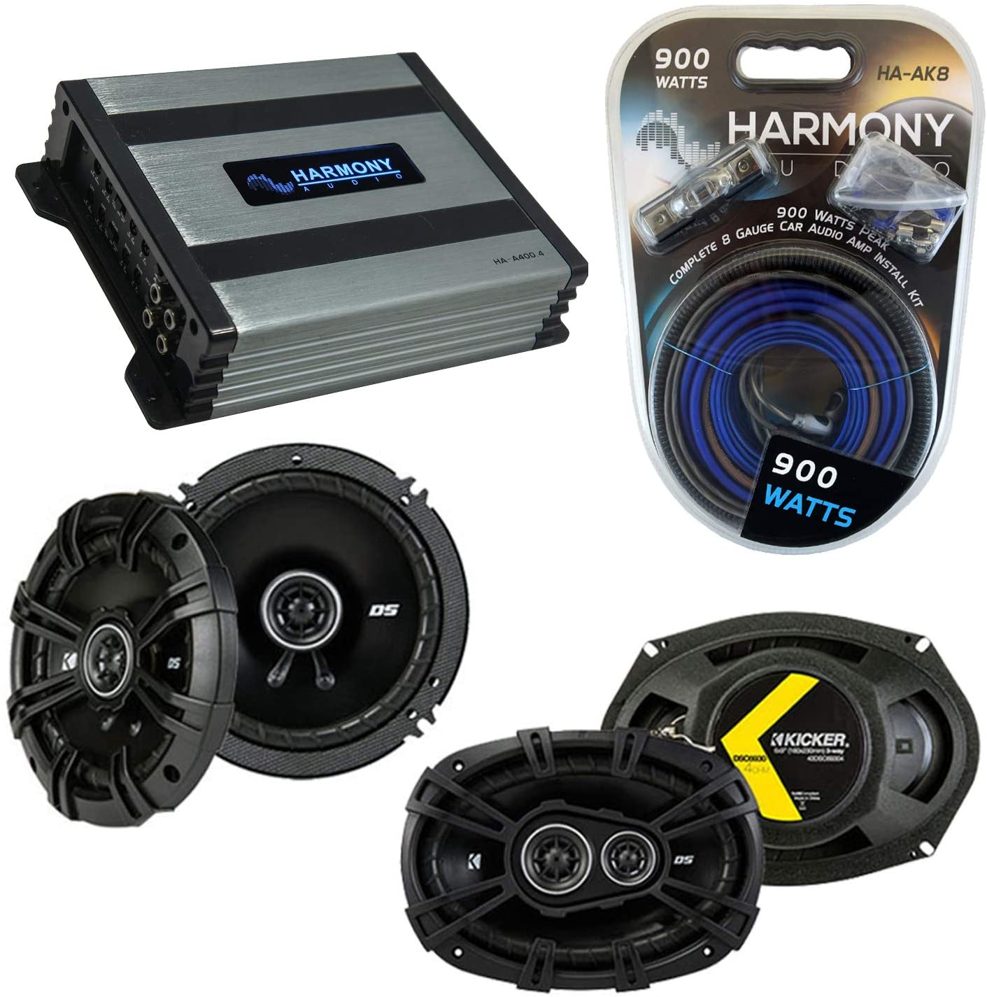 Compatible with Jeep Commander 08-10 Speaker Replacement Kicker Bundle DSC693 DSC65 & Harmony HA-A400.4 Amp