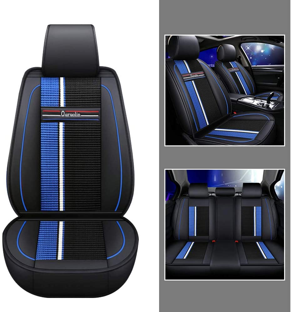 For Driver/Co-pilot/Rear 3seat Car Seat Covers For Nissan Fuga Kicks Livina Lannia Sentra 5-Seat Leather Cover Full Protection Set Black blue