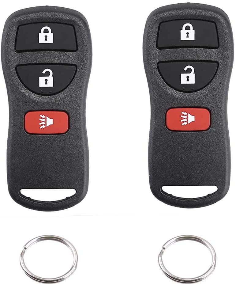 Car Key Fob Keyless Entry Remote Control Clicker for Infiniti QX4 FX35 FX45 Nissan Armada Frontier Murano NV Quest Titan Versa FCC# KBRASTU15 (3 Buttons, 2 Pack)