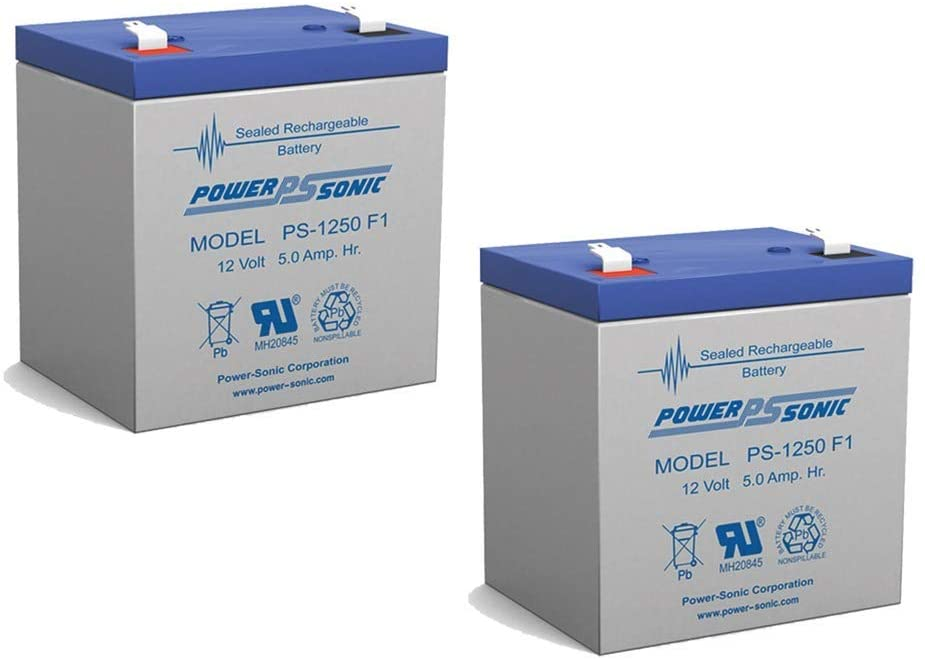 Power Sonic 12V 5AH Sealed Lead Acid Battery Home Security Alarm UB1250 PS-1250-2 Pack