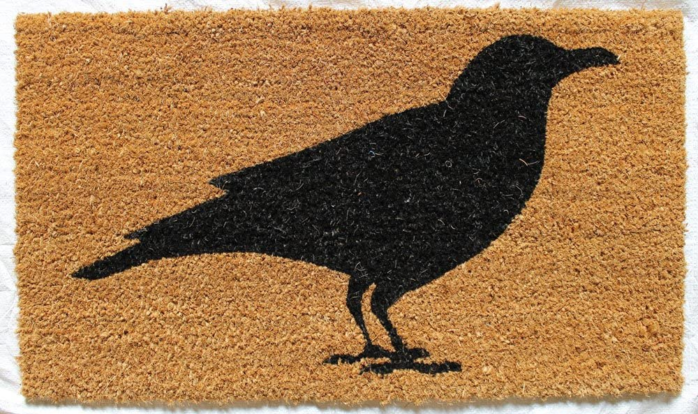 Evergreen Flag Gifted Living Crow Coir Welcome Mat, Black Halloween Welcome Mat for Fall Outdoor Decorations Halloween