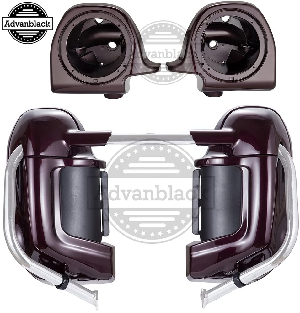 Advanblack Black Cherry Lower Vented Fairings 6.5 inch Speaker Box Pods Fit for Harley Touring Street Glide Road King Electra Glide 1983-2013